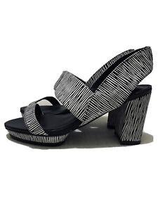 GINGER & SMART The Crave Mid-Heel Slingback Sandal Black &White Sz37 US7 AU6 UK4