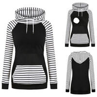 Maternity Long Sleeve Tops Pregnant Women Striped Hooded Sweatshirt Nursing Tops