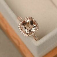 2Ct Cushion Cut Peach Morganite Halo Wedding Engagement Ring 14k Rose Gold Over