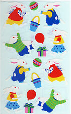 Mrs. Grossman's Giant Stickers - Bunnies - Baby Rabbits in Clothes - 2 Strips