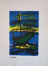 SEVEK (1918-1994) Lithographie de 1960 / Nouvelle Ecole de Paris / Le bateau.