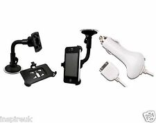 IPHONE 4G 4 4.0 WINDSCREEN CAR HOLDER AND CHARGER WHITE