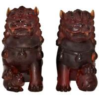 "Pair of Daum France Pate de Verre Amber Foo Dog or Lion Figurines, 5"" Tall"