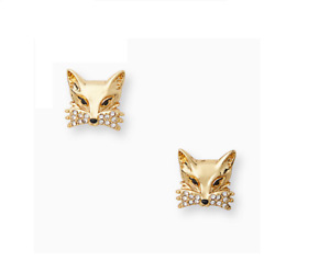 Kate Spade Gold Tone Pave Crystal Fox Stud Earrings NEW Tags Bag Authentic
