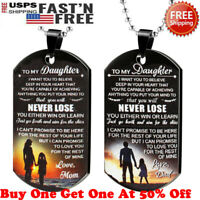 To My Daughter Gift From Dad Mom Never Lose Military-Dog Tag-Pendant Necklace