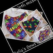 Set of 2.kids size.Autism Awareness. Washable Fabric Mask with pocket