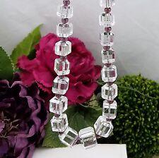 Vtg Art Deco EMRICHS Graduated Beveled Square Glass Amethyst Flapper Necklace 30
