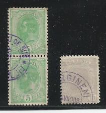 Königreich Rumänien, 1900  rurale seltene Stempel in blau, Mi. 132 u. Mi 136.