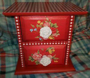 Pioneer Woman Spring 2021 2 Drawer Red Gingham Sweet Rose Trinket Chest Box