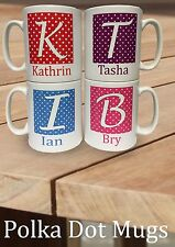 Alphabet Letter MUGS Personalised Initial A-Z and name Mug with polka dot