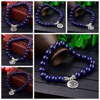 Women Men Lapis Lazuli Strand Bracelets OM Lotus Buddha Chakra Mala Bracelets