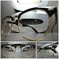 Mens Women CLASSIC VINTAGE RETRO Style Clear Lens EYE GLASSES Black & Gold Frame