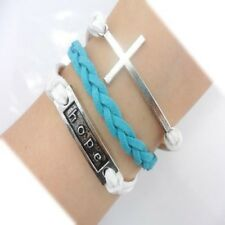 Sky Blue/White Handmade Braided Leather Hope Cross Charms Friendship Bracelet
