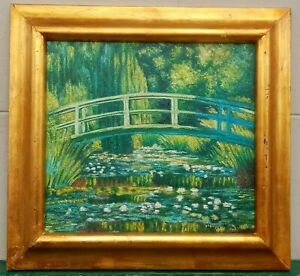 ANTIQUE OIL ON CANVAS BY CLAUDE MONET DATED 1899 WITH FRAME IN GOLDEN LEAF NICE