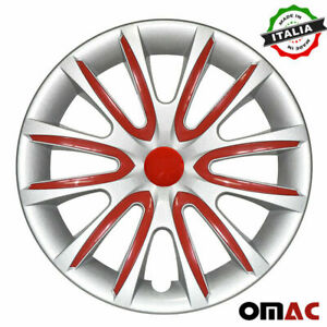 """14"""" Inch Hubcaps Wheel Rim Cover for Honda Gray with Red Insert 4pcs Set"""