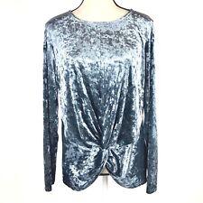 Pleione Womens Med Blue Velvet Long Sleeve Knit Top Blouse