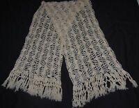 Vintage Mohair Wool Cream Scarf Silver Thread Fringe 80 x 20 Rectangle Lace Wrap