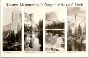 "Vintage 1930s YOSEMITE NATIONAL PARK Photo RPPC Postcard ""Natures Monuments"""