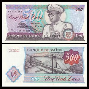 Zaire 500 Zaires, 1985, P-30b, UNC, Banknotes, Original