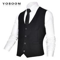 Hommes Noir Costume Gilet Slim Fit Affaires Loisirs Britannique Gilets