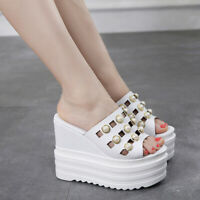 Womens Wedge High Heel Slippers Pearl Hollow Out Sandals Open Toe Casual Shoes