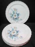 Taylor Smith & Taylor 1037 Embossed Leaves Turquoise Blue Flowers 4 Dinner Plate