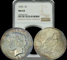 1922 Silver Peace Dollar NGC MS64 Color Toned High Grade Coin