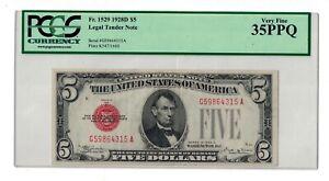 FR.1529 1928 D $5 DOLLARS RED SEAL
