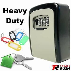 Key Safe Wall Mounted Lock Box Secure Safety 4 Digit Master Keys Outdoor Storage