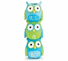 """It's A Boy"" Blue Owl Stacked Vase for Baby Nursery Decor or Baby Shower, New, F"