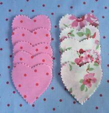 Cath Kidston Tejido De Punto Blanco Rosa & Rosa material 50 Corazones colcha de retazos