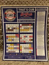 2017 CHICAGO CUBS MAGNET SCHEDULE-2016 WORLD CHAMPIONS GIORDANOS EDITION-NR MINT