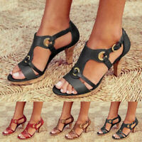 Womens Peep Toe Block High Heels Summer Buckle Sandals Casual T-Strap Shoes Size