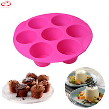 7 Holes Silicone Muffin Pudding Cupcake Mould Bakeware Cake Pan Baking Tray