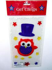 "GEL CLINGS 4TH OF JULY Top Hat Owl Stars WINDOW DECOR (1) Sheet 10""L x 5.5""W NEW"