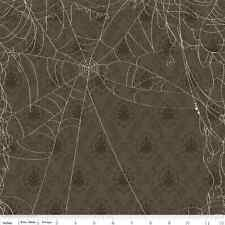Fat Quarter Witch Hazel Web Spiders Grey Halloween Quilting Fabric