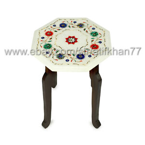 Small Coffee Table Marble Inlay Side Table White New Home Gift Vintage Furniture