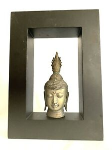 """Antique art deco brass buddha head with wooden framed wall hanging 14x10"""""""