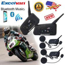 2x BT Bluetooth Motorcycle Helmet Interphone Intercom Headset 6 Riders 1200M USA