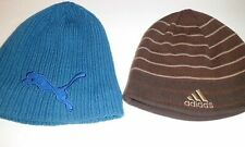 Vintage Men's Beanie Winter Hats Lot of 2 Puma Adidas One Size Stretch