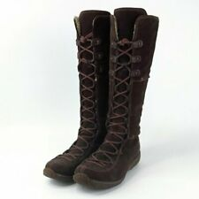 Timberland Moorland Hollace Brown Leather Lace Up Tall Boots Womens Size 6.5M