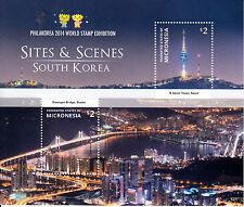 Micronesia 2014 MNH Sites & Scenes South Korea 2v S/S Philakorea Bridges Stamps
