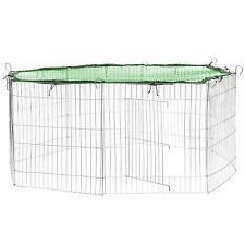 Small pet enclosure run cage rabbit guinea pig hutch outdoor playpen metal green