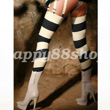 New Latex Long Stocking 100% Rubber Thigh-High Socks Women Stripes Size S-XXL