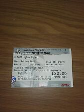 SWANSEA CITY V NOTTINGHAM FOREST USED TICKET 16TH MAY 2011 PLAY OFF SEMI FINAL