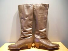 Vintage 60s California Cobbler Brown Leather Winter Tall Boots GoGo Heel Mod 8N