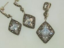 STERLING SILVER MARCASIT FACETED LAVENDER GLASS PENDANT & MATCHING EARRINGS!