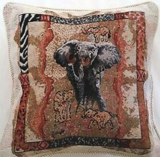 wildlife elephant animal tapestry brown rust gold decorative throw pillow usa