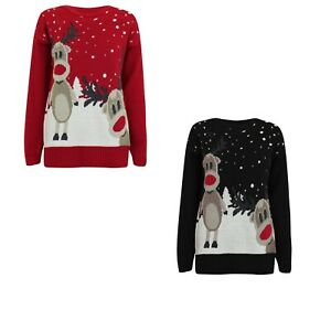 Women Girls Long Sleeves Xmas Twin Reindeer Rudlpoh Retro Christmas Jumper Top