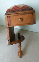 ANTIQUE 19TH C BOXWOOD TREEN TABLE CLAMP SEWING BOX  AND PIN CUSHION